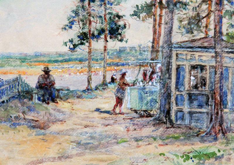 П. Лебедев. Купание в пруду 1955 г. акварель