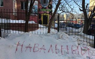 """Саратовцы поддержали столичный флешмоб с надписями на снегу """"Навальный"""""""